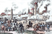 Antique print - Napoleonic Wars - Battle of Ratisbon or Regensburg (1809) between France and Austria - Napoleon was Wounded