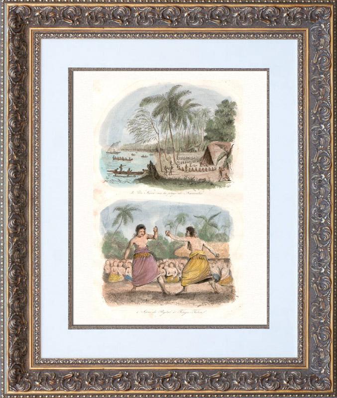 Gravures Anciennes & Dessins | Îles Tonga - Kava sur la Plage de Namouka - Scène de Pugilat - Boxeur - Lutteur | Taille-douce | 1835