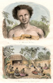 Antique print - Tonga Islands - Mata-Boulai Waï-Totaï - Consultation of the Spirit for an Ill Child