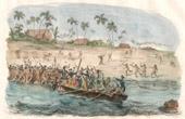 Fiji Islands - Viti Islands - Laguemba - Boat of the Astrolabe Attacked by the Natives