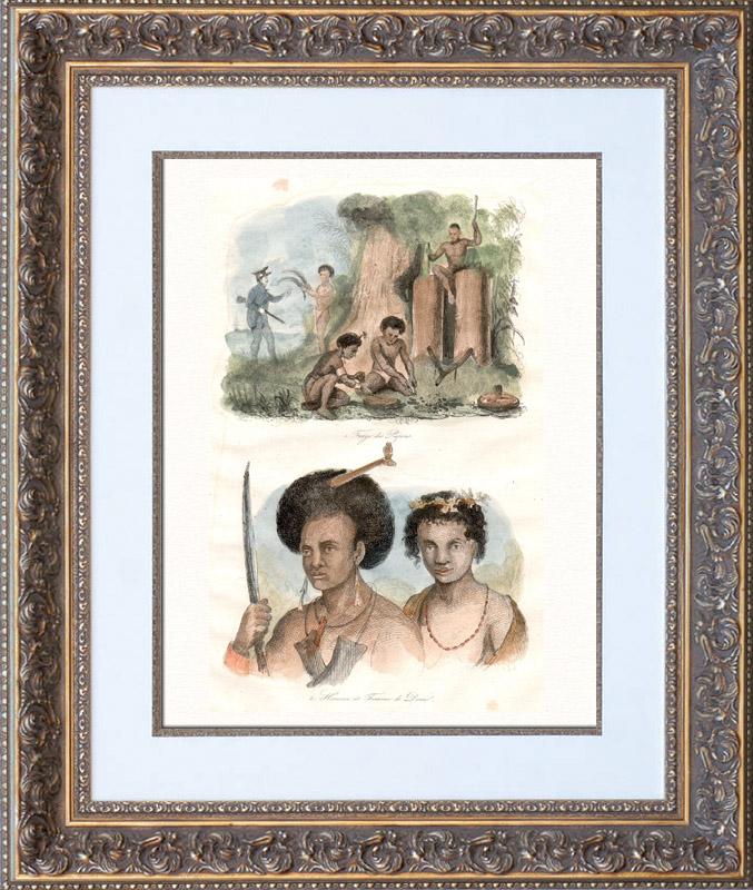 Papouasie-Nouvelle-Guinée - Forge des Papous - Homme et Femme de Doreï Gravure sur acier originale dessinée par Louis Auguste de Sainson. Aquarellée à la main. 1835