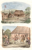 Antique print - Maluku Islands - Indonesia - House of the Dutch Agent in Caïeli - War Dances in Bourou