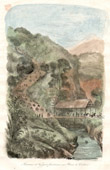 Print of Celebes - Sulawesi - Indonesia - Caravan of Travellers Crossing a Ravine
