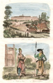 Antique print - Java - Bogor - Indonesia - Palace of Buitenzorg - Traditional Costume