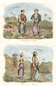 Antique print - Java - Indonesia - Man and Woman of the People - Traditional Costume - Marriage - Wedding