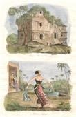 Gravura antiga - Java - Indonésia - Palácio de Koulassan - Dançarina de Java