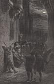 Gravure ancienne - Estudiantina Espagnola - Etudiants de la Tuna Donnant une Sérénade (Espagne)