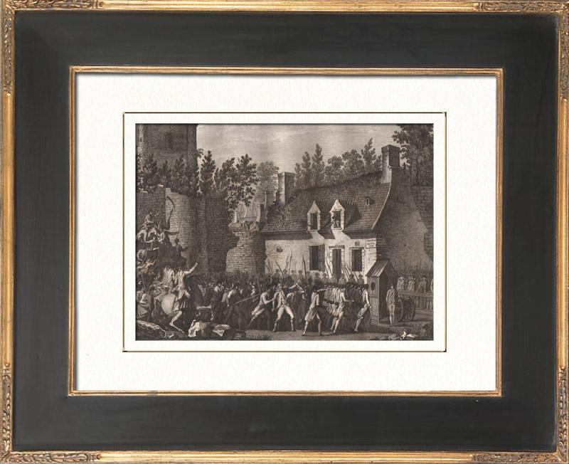 Gravures Anciennes & Dessins   Révolution Française - Besenval fait prisonnier dans le château fort de Brie-Comte-Robert (10 août 1789)   Gravure sur cuivre   1818