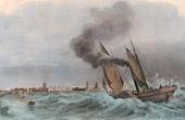 Steam Sailing Ship at Sea off Calais (France)