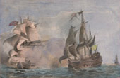 Capture of Northumberland by Mars (1724) - Naval Battle - England - France