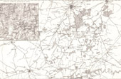Antique map of the country between Charleroi, Namur and Brussels - Battlefield of Fleurus - Ligny - Belgium