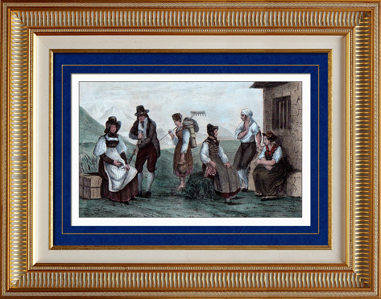 Antique Prints & Drawings | Traditional Costume - Canton of Neuchâtel - Canton of Valais - Canton of Graubünden - Grisons - Canton Ticino (Switzerland) | Intaglio print | 1838