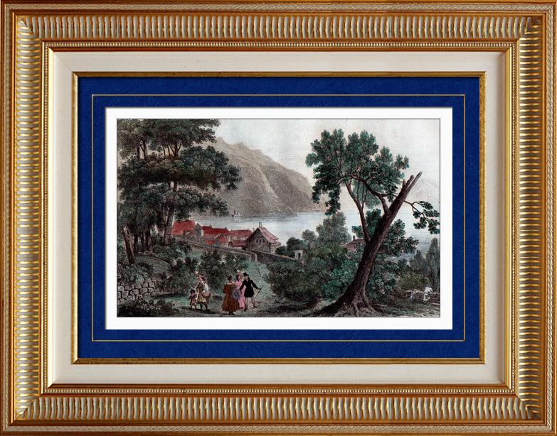 Gravures Anciennes & Dessins   Vue de Clarens - Canton de Vaud (Suisse)   Taille-douce   1838