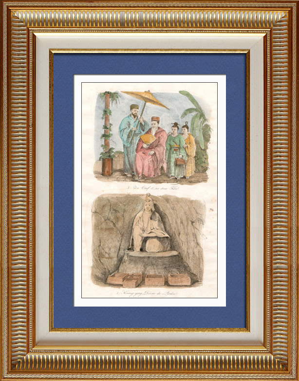Gravures Anciennes & Dessins   Japon - Chine - Corée - Un chef et ses Deux Fils - Kouang Yong Déesse du Pardon   Taille-douce   1834