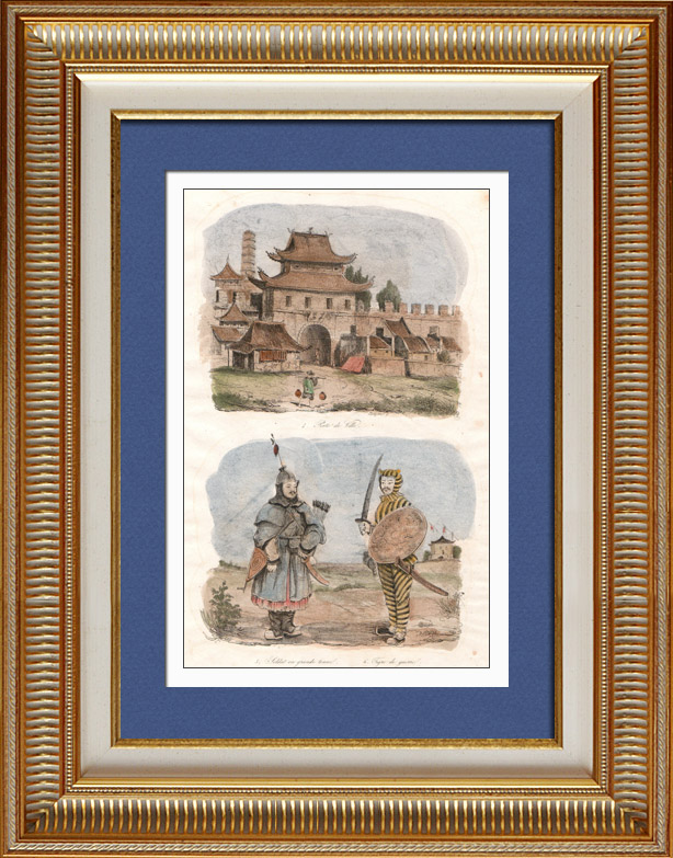 Gravures Anciennes & Dessins | Chine - Porte de ville - Soldat en Grande Tenue - Tigre de Guerre | Taille-douce | 1834