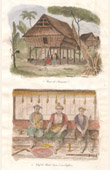 Antik etsning - Indonesien - Hydda von Sumatra - Hövding von Batou-Bara och Son