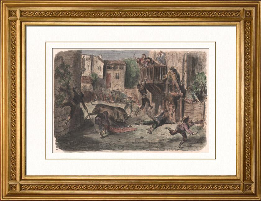 Gravures Anciennes & Dessins | La Tauromachie - Corrida en Espagne - Torero - Novillos - Novillada de lugar (Gustave Doré) | Gravure sur bois | 1874