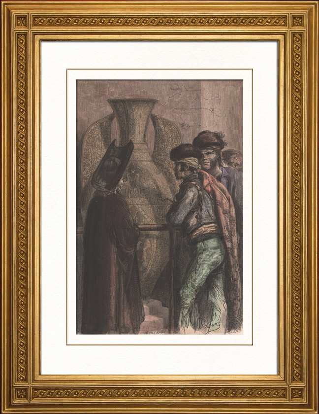 Antique Prints & Drawings | Great Alhambra Vase in Granada (Spain) - Hispano-Moorish Faience | Wood engraving | 1874