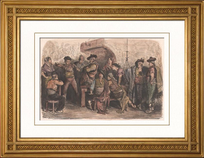 Gravures Anciennes & Dessins | Tauromachie - Récit du torero après la victoire (Espagne) | Gravure sur bois | 1874