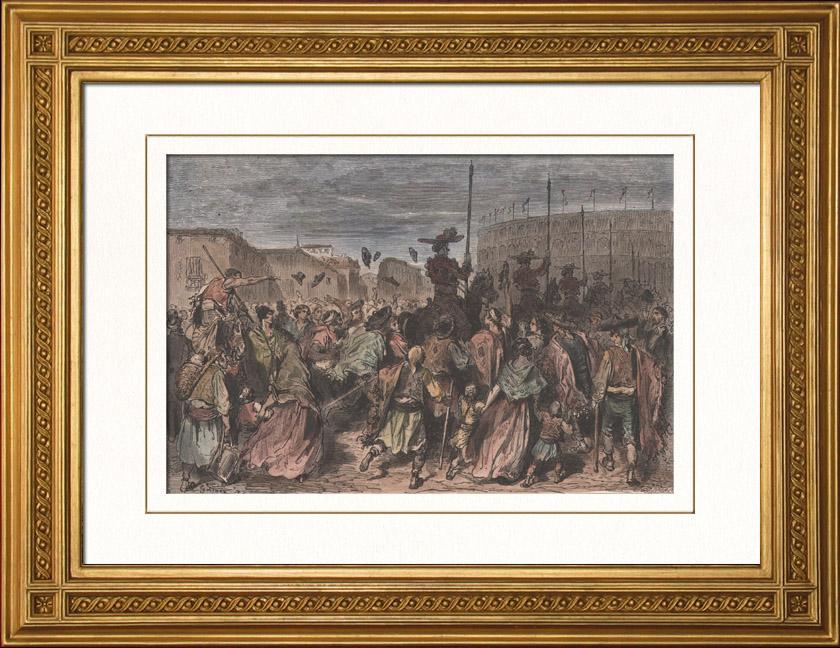 Gravures Anciennes & Dessins | L'arrivee des picadors - Tauromachie (Espagne) | Gravure sur bois | 1874
