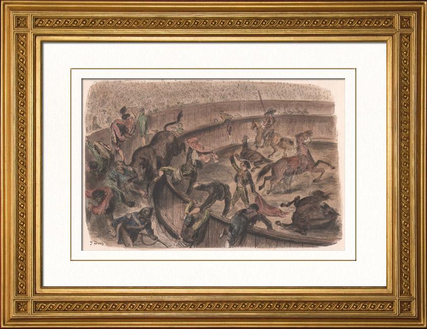 Gravures Anciennes & Dessins | Taureau franchissant la barrière - Tauromachie - Arènes (Espagne) | Gravure sur bois | 1874