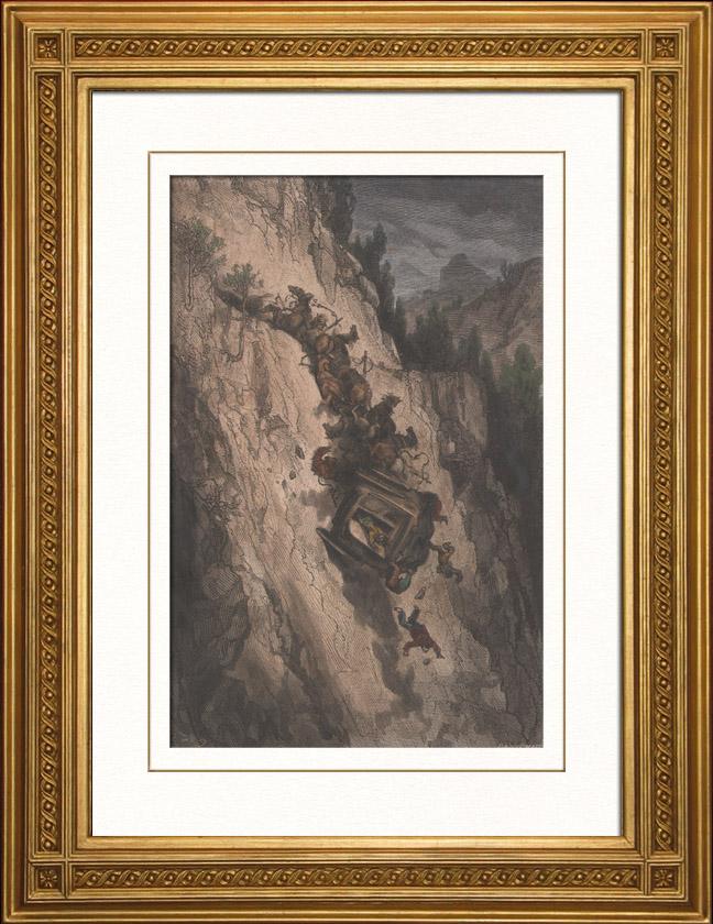 Gravures Anciennes & Dessins   Accident de montagne (Espagne)   Gravure sur bois   1874