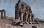 View of Thebes - Colossi of Ramesseum - Necropolis - Ramesses II (Egypt)