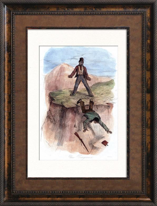 Gravures Anciennes & Dessins | Pêche - Pêcheur - Combat - Une Vengeance | Taille-douce | 1838