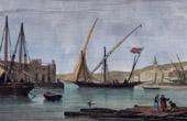 Antik etsning - Vy över Alger - Hamn (Algeriet - Nordafrika)