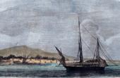Antik etsning - Slavmarknaden - Livegenskap - Slaveri Fartyg i Afrika