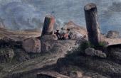 Landscape of Alps - Les colonnes juliennes - Columns - Julius Caesar - Gaius Iulius Caesar - Julier pass (Switzerland)