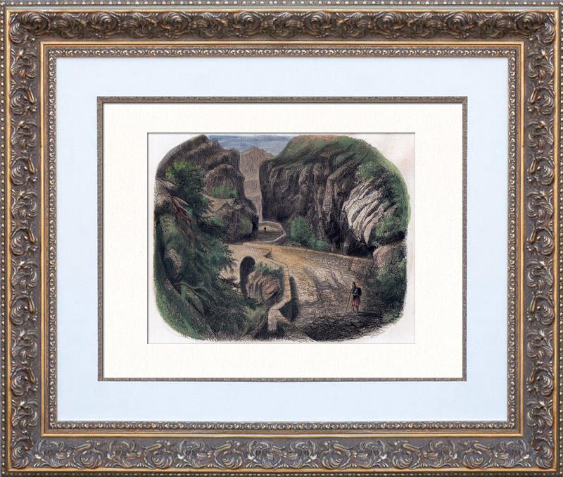 Gravures Anciennes & Dessins   Gorges de Via Mala - Viamala - Intérieur - Canton des Grisons (Suisse)   Gravure sur bois   1850