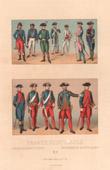 Lithographie von Französische Mode - Französische Königliche Marine - 18. Jahrhundert - XVIII. Jahrhundert