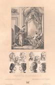 Lithographie von Französische Mode - Frankreich - 18. Jahrhundert - XVIII. Jahrhundert - Perücken von Frauen und von Kindern