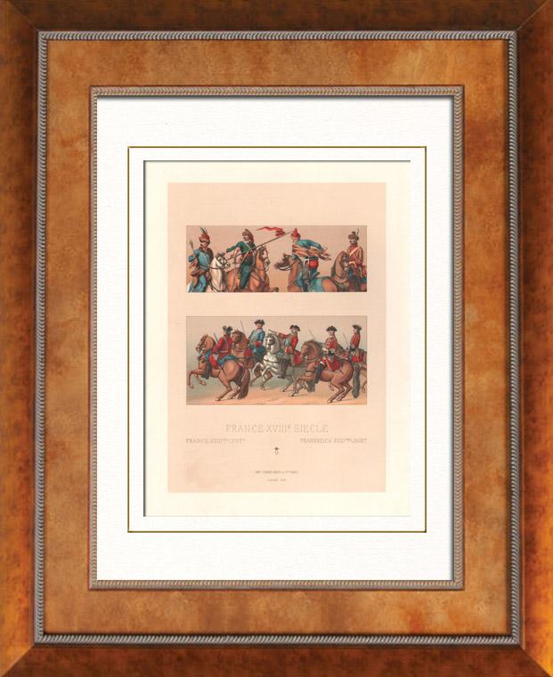 Gravures Anciennes & Dessins | Mode Française - France - 18ème Siècle - XVIIIème Siècle - Uniforme Militaire - Armée Française - Cavalerie - Hussard - Chevau-Légers | Lithographie | 1876