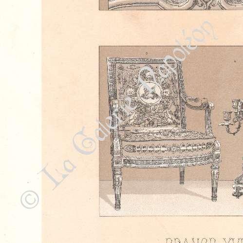 Grabados antiguos litograf a de moda francesa francia - Muebles siglo xviii ...