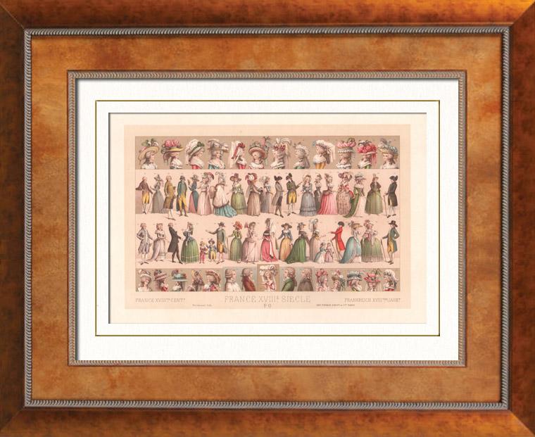 Gravures Anciennes & Dessins   Mode Française - France - 18ème Siècle - XVIIIème Siècle - Robe - Chapeau - Coiffure   Lithographie   1876