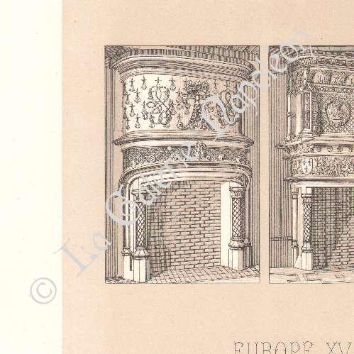 Alte stiche lithographie von dekoration europa Dekoration frankreich