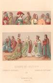 Fashion and Costumes - Europe - Court Lady - Coat - Ceremony - XVth Century - XVIth Century