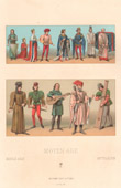 Fashion and Costumes - France - Middle Ages - War - Royal Court - Clergy - Gentleman - Musician