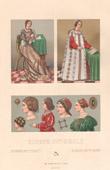 Italienische Mode - Italien - Italienische Tracht und Kleidung - Kost�me - Haartracht - Kopfputz - 16. Jahrhundert - XVI. Jahrhundert