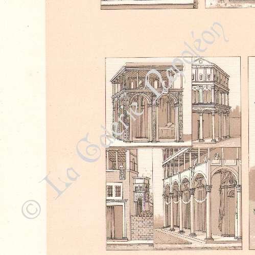 Antika Etsningar Litografi Av Dekoration Italien Hus