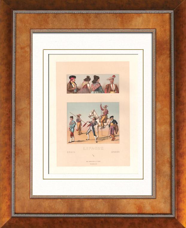 Gravures Anciennes & Dessins | Mode Espagnole - Espagne - Costume Espagnol - Corrida - Tauromachie - Torero - Coiffure - Fichu - Chapeau | Lithographie | 1876