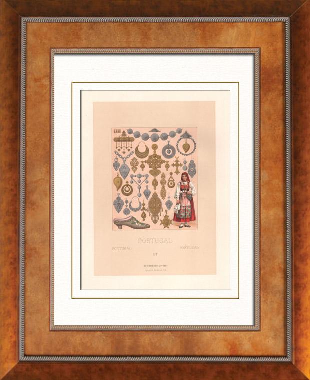 Gravures Anciennes & Dessins | Mode Portugaise - Portugal - Joaillerie - Bijoux - Paysannes | Lithographie | 1876
