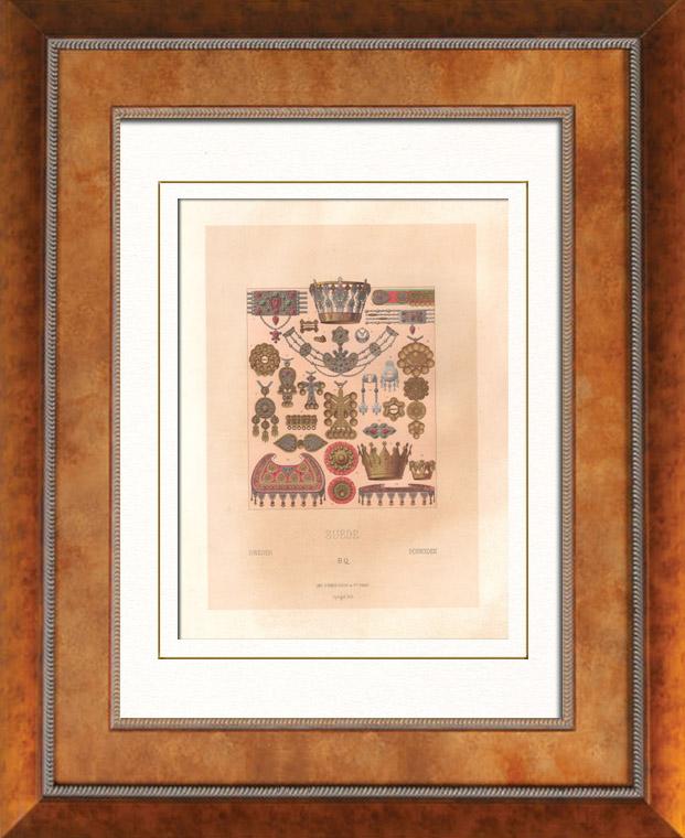 Gravures Anciennes & Dessins   Mode Suédoise - Suède - Costume Suédois - Norvège - Paysannes - Bijoux - Joaillerie - Orfèvrerie - Diadème   Lithographie   1876