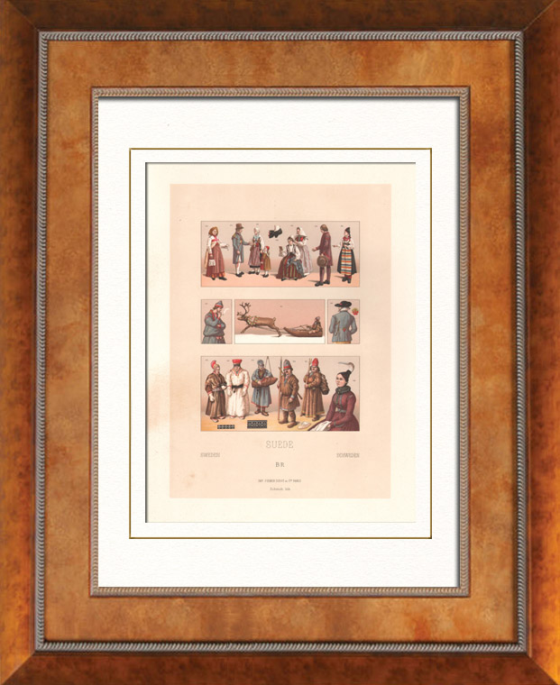 Antique Prints & Drawings | Swedish fashion - Sweden - Swedish Costume - Iceland - Sápmi - Hawker - street vendor - Peasant | Lithography | 1876