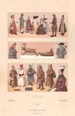 Lithographie von Schwedisch mode - Schweden - Schwedisch Tracht - Island - Laponia - Hausierer - Bäuerin