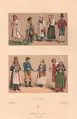 Lithographie von Schwedisch mode - Schweden - Schwedisch Tracht - Norwegen - Bauer