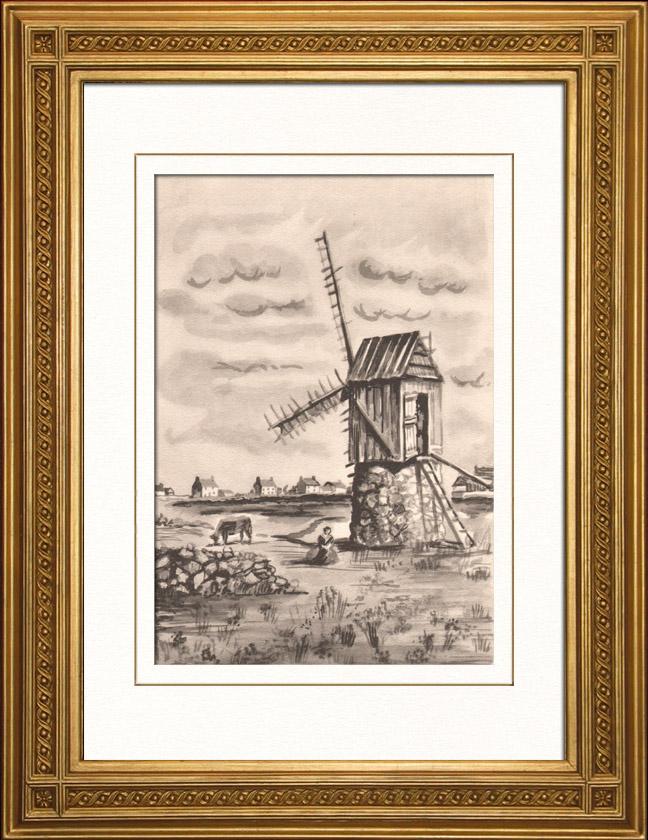 gravures anciennes collection moulins de france 41 68 moulin vent moulin de l 39 ile d. Black Bedroom Furniture Sets. Home Design Ideas