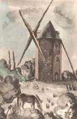 Lithographie von Sammlung Französische Mühlen 60/68 - Windmühle - Gué-Sainte-Marie - Les Trois-Moutiers (Vienne - Frankreich)